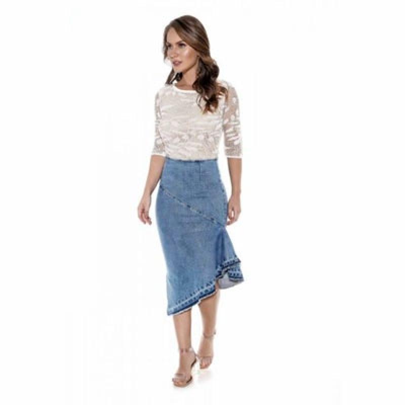 Fornecimento de Saia Jeans Clara Evangélica Recife - Saia Jeans para Evangélica