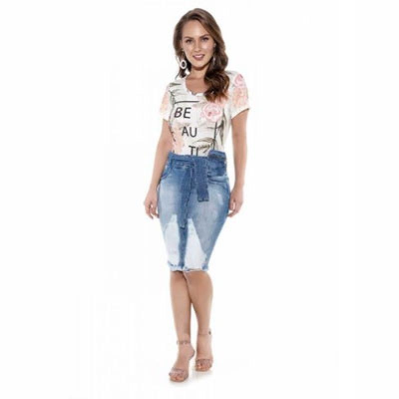 Fornecimento de Saia Jeans Estampada Evangélica Cidade Monções - Saia Jeans Moda Evangélica