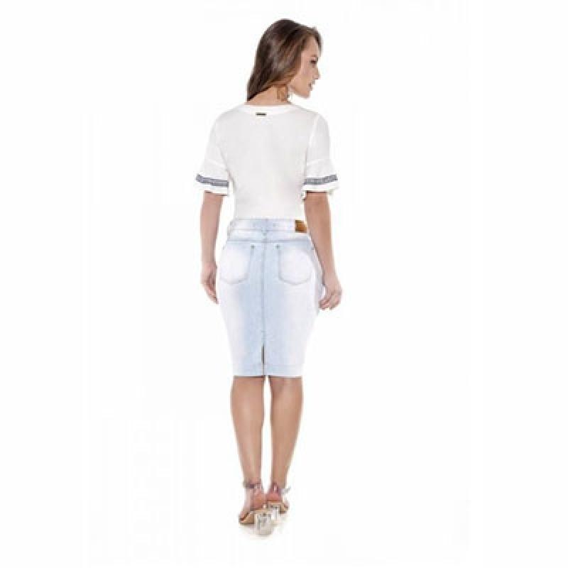 Saia Jeans Evangélica Bordada Água Branca - Saia Jeans para Evangélica