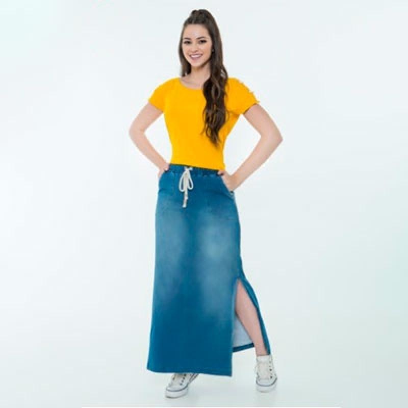 Saia Jeans Longa Evangélica Carandiru - Saias Longas Jeans Moda Evangelica
