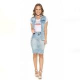 colete jeans comprido feminino Vila Marisa Mazzei