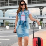 colete jeans longo feminino Planalto Paulista