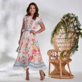 compra de vestido longo plus size moda evangélica Glicério
