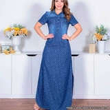distribuidor de vestido jeans longo com botões Granja Julieta