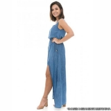 distribuidor de vestido jeans longo com fenda Santana de Parnaíba