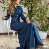 distribuidor de vestido jeans longo de moda evangélica Sumaré