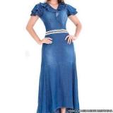 fornecedor de vestido jeans longo de moda evangélica Pedreira