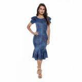 moda evangelica vestido jeans Jardim das Acácias
