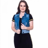 orçamento de colete jeans curto feminino Moema