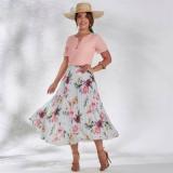 preço de saia florida moda evangelica Santo Amaro