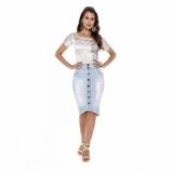 saia jeans cintura média Cosmópolis