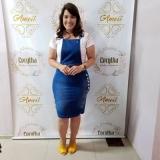 vestido jardineira jeans plus size Cidade Patriarca
