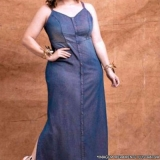 vestido jeans plus size longo Parque do Chaves
