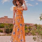 vestido longo florido evangélico Campo Grande