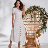 vestido longo plus size moda evangélica Artur Nogueira