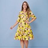 vestido midi floral rodado Chácara Flora