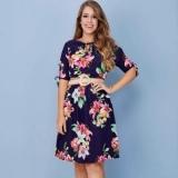 vestido midi rodado floral Cambuci