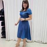 vestido plus size jeans Aracaju