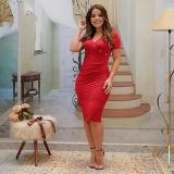 vestido vermelho moda evangélica Cachoeirinha