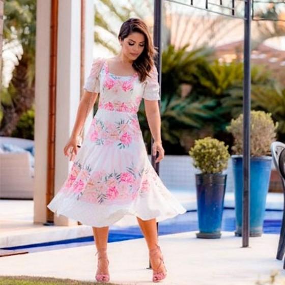 Vestido de Festa Plus Size Moda Evangélica Itatiba - Saia Moda Evangélica Plus Size